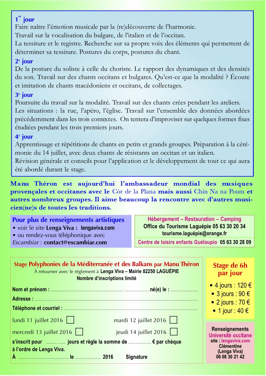Stage Manu Théron Laguépie 2016 A5 Verso
